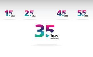 ano aniversário logotipo vetor modelo design ilustração arco-íris