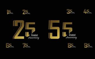 definir ano aniversário logotipo vetor modelo design ilustração ouro elegante