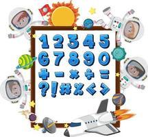 números de 0 a 9 e símbolos matemáticos no banner com muitas crianças no tema do espaço sideral vetor