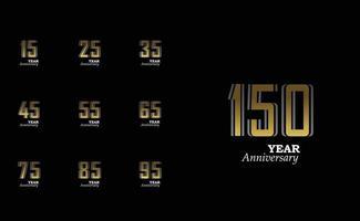 ano aniversário logotipo vetor modelo design ilustração ouro elegante
