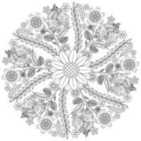 padrão floral circular em forma de mandala, ornamento decorativo em estilo oriental, fundo de desenho de mandala ornamental com vinhas, pássaros e borboletas, vetor livre e borboletas