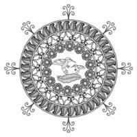 padrão floral circular em forma de mandala, ornamento decorativo em estilo oriental, fundo de desenho de mandala ornamental com videiras, pássaros e borboletas vetor livre