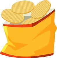 pacote de batata frita aberto vetor