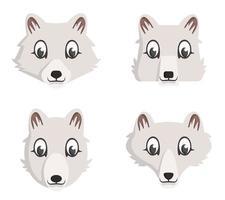 conjunto de raposas do Ártico dos desenhos animados.