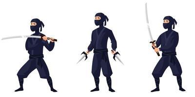 ninja em diferentes poses. vetor