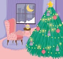 pôster de feliz natal com uma linda árvore de natal em casa vetor
