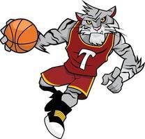 desenho de mascote de basquete - tigre branco vetor