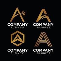 um logotipo de ouro de luxo inicial para modelo de vetor de logotipo de empresa de negócios