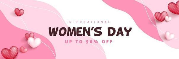 modelo de banner de venda do dia internacional da mulher. vetor