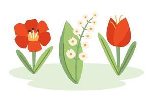 flor de papoula, floco de neve, tulipa, ilustração da natureza, banner, design de cartão. Primavera.