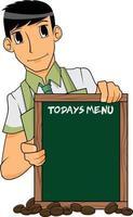 menino barista segurando o menu do tabuleiro