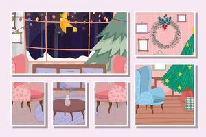 cartão de feliz natal com uma linda árvore de natal em casa vetor