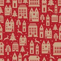 padrão de cor sem costura de cidade antiga com edifícios antigos para papel de parede ou design de plano de fundo em vermelho. fundo de inverno de Natal e ano novo.