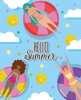 Olá mulheres design de férias de verão