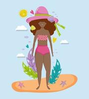 mulher, olá, férias de verão design vetor