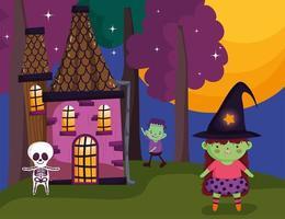 feliz dia das bruxas, doce ou travessura com personagens fofinhos vetor