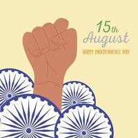 feliz dia da independência da índia com rodas ashoka vetor