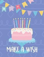cartão de aniversário colorido com bolo vetor