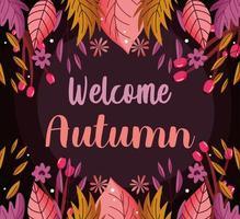 imagem de boas-vindas das folhas de outono vetor