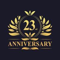 Projeto do 23º aniversário, luxuoso logotipo de aniversário de 23 anos em cor dourada. vetor