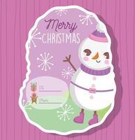 etiqueta de presente de natal com personagem de inverno