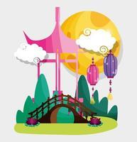 lanternas do portão chinês e lua vetor