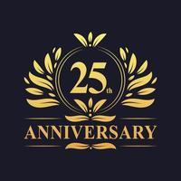 Design do 25º aniversário, logotipo luxuoso do aniversário de 25 anos em dourado vetor
