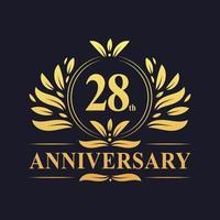 Design do 28º aniversário, luxuoso logotipo de aniversário de 28 anos em cor dourada. vetor