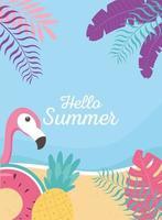 Olá banner de verão com vibrações tropicais