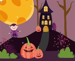 imagem de feliz dia das bruxas com vampiro fofo e abóboras vetor