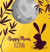 imagem de coelho feliz festival de lua vetor