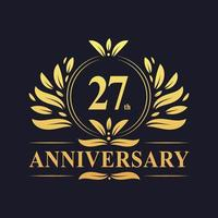 Design do 27º aniversário, luxuoso logotipo do aniversário de 27 anos em cor dourada. vetor