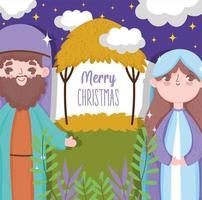feliz natal e natividade com mary e joseph vetor