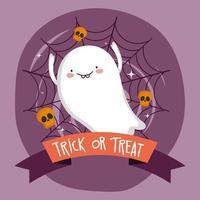 imagem de feliz dia das bruxas com fantasma fofo vetor
