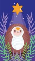 feliz natal e natividade com o bebê jesus vetor