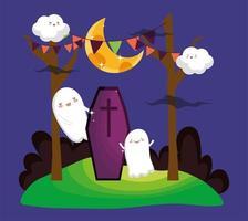 imagem de feliz dia das bruxas com fantasmas fofos vetor