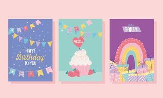 conjunto de cartão de aniversário colorido vetor