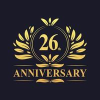 Design do 26º aniversário, luxuoso logotipo de aniversário de 26 anos em cor dourada. vetor