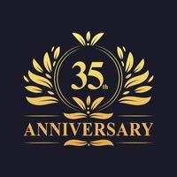 Design do 35º aniversário, luxuoso logotipo do aniversário de 35 anos em cor dourada. vetor