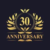 Design do 30º aniversário, logotipo luxuoso do aniversário de 30 anos em dourado vetor