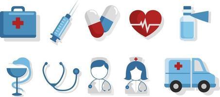conjunto de ícones de acessórios de saúde vetor