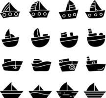 conjunto de ícones de veleiros pretos vetor