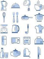 utensílios de cozinha, conjunto de ícones de ilustração vetor