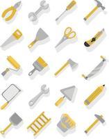 conjunto de ícones de ferramentas de carpinteiro amarelo e cinza vetor