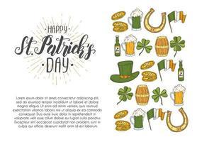 pôster do dia de São Patrício com ícones desenhados à mão. st. chapéu de patrick, ferradura, cerveja, barril, bandeira irlandesa, trevo de quatro folhas e moedas de ouro. menu, banner, publicidade.lettering.engraving vetor