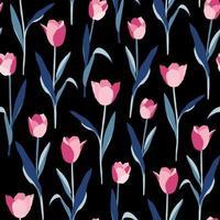 tulipas flores padrão sem emenda em fundo preto vetor
