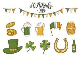 Dia de São Patrício definido com mão desenhada st. chapéu de patrick, ferradura, cerveja verde, barril, bandeira irlandesa, trevo de quatro folhas e moedas de ouro. letras. gravura de ilustrações vetor