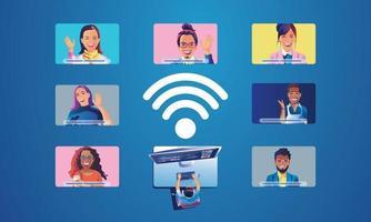 pessoas de eventos virtuais usam videoconferência. pessoa que trabalha na tela da janela, falando com os colegas. página de espaço de trabalho de videoconferência e reunião online vetor