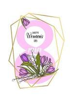 quadro de dia das mulheres com formas de diamante geométrico dourado e flores desenhadas à mão - lírios do vale, tulipa, salgueiro, açafrão - isolado no branco. molduras douradas 8 de março. letras vetor