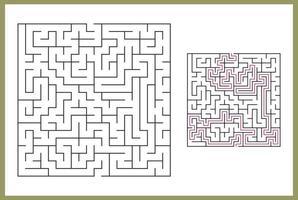 labirinto para crianças. labirinto quadrado abstrato. encontre o caminho para o presente. jogo para crianças. quebra-cabeça para crianças. enigma do labirinto. ilustração em vetor plana isolada no fundo branco. com resposta